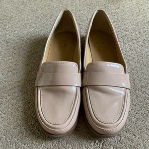 Franco Sarto tan patent loafers size 6.5